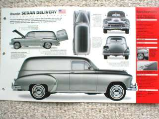 1952 CHEVROLET SEDAN DELIVERY Truck SPEC SHEET/Brochure