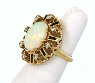 LOVELY 14K GOLD, DIAMONDS & AUSTRALIAN OPAL LADIES RING
