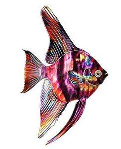 PURPLE TETRA FISH METAL WALL ART Tropical Sea Decor Beach Decorations