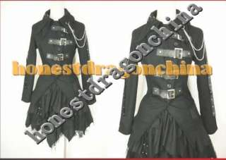 Gothic Lolita Punk Cosplay Costume black coat skirt 000
