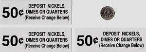 50 Cent Vendo Soda Vending Machine Set 3 Price Stickers
