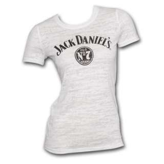 Jack Daniels Logo Burnout White Womens Graphic Tee Shirt