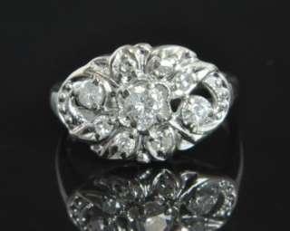Estate Vintage 14K White Gold .40 CT Diamond Cluster Art Deco Oval