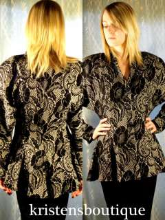 Vtg 80s 40s Black & Metallic Gold Floral Flared Peplum Batwing Jacket