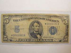 1934A Five Dollar Blue Seal Star Note