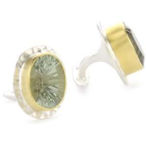 Heather Benjamin Sea Amethyst Gold Plated Silver Cuff Links Jewelry