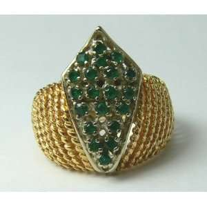 40pts Retro Stylish Colombian Emerald & Gold Ring