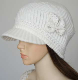 H400 White Winter Women Rabbit Hair Newboy Hat / Cap