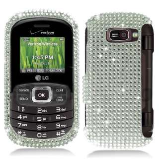 VN530 Silver Crystal Bling Diamond Hard Case Cover +Screen Protector