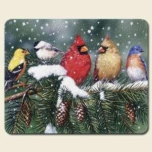 Backyard Birds Cardinals Finches Glass Cutting Board