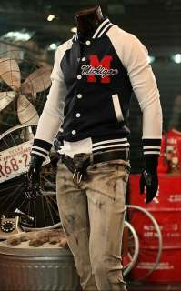 2011 NEW Mens Classic Fashion Retro Style Baseball Shirt Jacket Dark