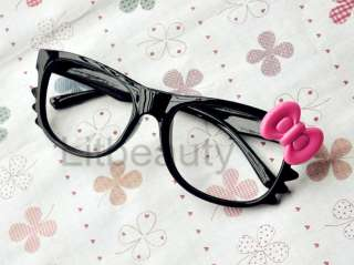 Bow Style Women Girl Glasses Costume Without Lens lovely Black