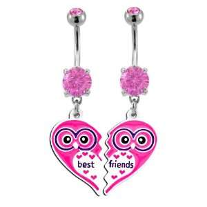Pink Owl Heart Best Friend dangle set Belly Ring   316L Implant Grade