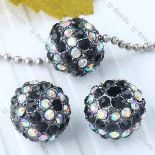 Ball Black & AB White Crystal Loose Spacer Bead Disco Hip Hop Finding