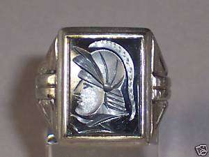 MENS VINTAGE 10K TWO TONE YELLOW & WHITE GOLD INTAGLIO HEMATITE