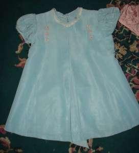 Vintage Girls Bear Pink Blue Dress Taffata?