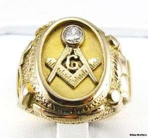 Diamond MASONIC Master Mason RING   14k Yellow Gold Hefty 20g Symbols