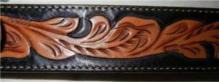 by BRIGHTON Hand Tooled Leather & Bucking Horse Buckle Belt 34
