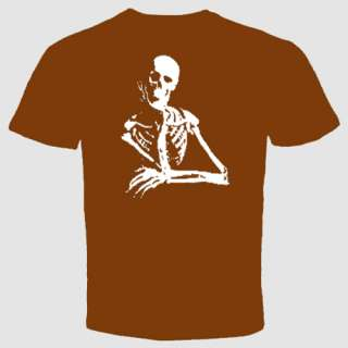 skeleton thinker college T shirt bone skull mortal