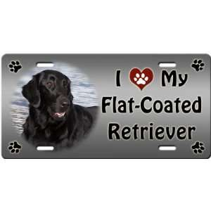 I Love My Flat Coated Retriever License Plate Sports