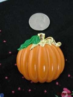 Large Halloween Pumpkin Brooch Pin Pendant Signed