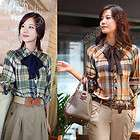 Womens Ladies Long Sleeve Cotton Casual Lapel Plaid Shirt Blouse S,M,L