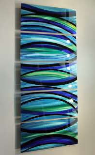 Modern Abstract Painting Blue/Silver Metal Wall Art Decor Psychedelic