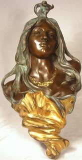 FEMALE FACE WOMAN BRONZE SCULPTURE WALL HANGING COLOR