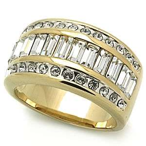 Impressive 4 Ct Gold Plated Band Featuring Multiple Crystals and