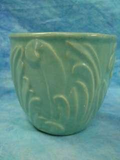 VTG Antique Green Jadite Art Pottery Flower Pot Planter McCoy