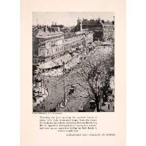 Spring Paris Street Scene   Original Halftone Print