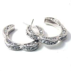 Exquisite Silver with Clear Crystal Rhinestones Flower Hoop Earrings