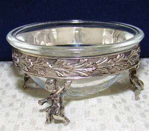 STERLING SILVER ANTIQUE OPEN SALT CELLAR BOWL dip dish pot~VINTAGE