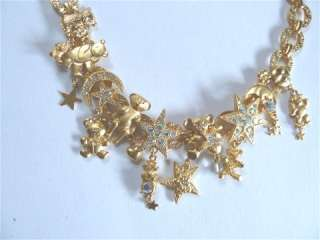 Kirks Folly Teddy Bear Crystal Charm Necklace   goldtone