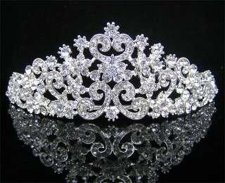 Wedding/Bridal crystal veil tiara crown headband CR197
