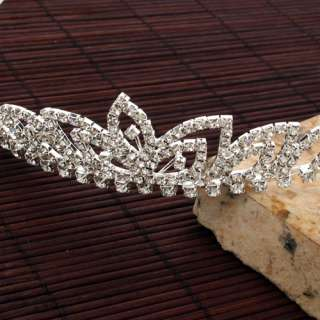 Beautiful Elegant Wedding Bridal Tiara Clover Rhinestone Crown Hair