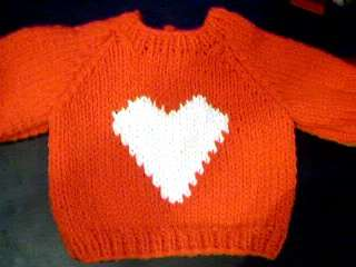 Valentine Heart Sweater Handmade for American Girl Doll