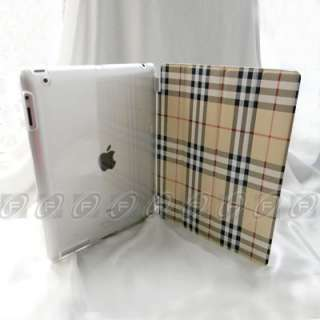 Magnetic Leather Smart Cover + Back Case w/ Stand for iPad 2