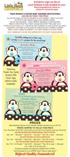 TWIN Monkey Custom Baby Shower Invitations