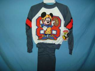 vtg KIDS MICKEY MOUSE SWEAT SUIT TODDLER SIZE 7 GREY