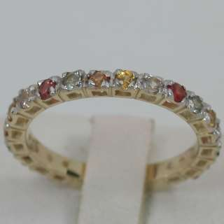 SOLID YELLOW GOLD NATURAL RAINBOW SAPPHIRE ETERNITY BAND RING