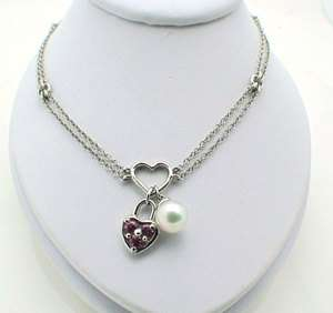 14k White Gold Heart Lock Pearl Charm Pendant Necklace