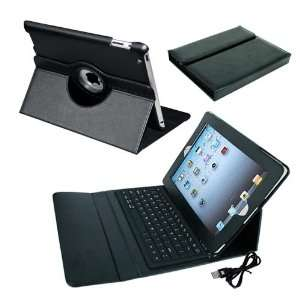 Skque Ipad Leather with Bluetooth Keyboard Case + Black Leather Cover