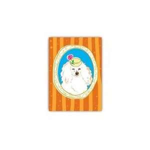 Paper Russells Greeting Card  5x7   White Poodle W. Hat