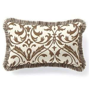 Outdoor Lumbar Pillow in Sunbrella Softly Elegant Brown with Fringe