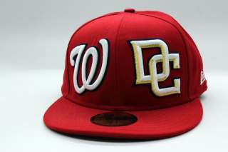 Nationals Red White Gold Double Whammy Custom MLB New Era Fitted Cap