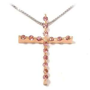 Red/White Chain 18 karat Gold with Pink Tourmaline, form Cross, line