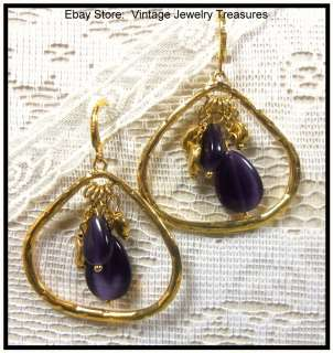 JOAN RIVERS Purple Tiger Eye Glass Gold Tone Pierced Earrings
