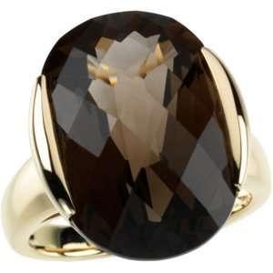 Yellow Gold Checkerboard Smoky Quartz Ring Diamond Designs Jewelry