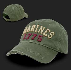 Green United States US Marines USMC Marine Vintage Baseball Cap Hat
